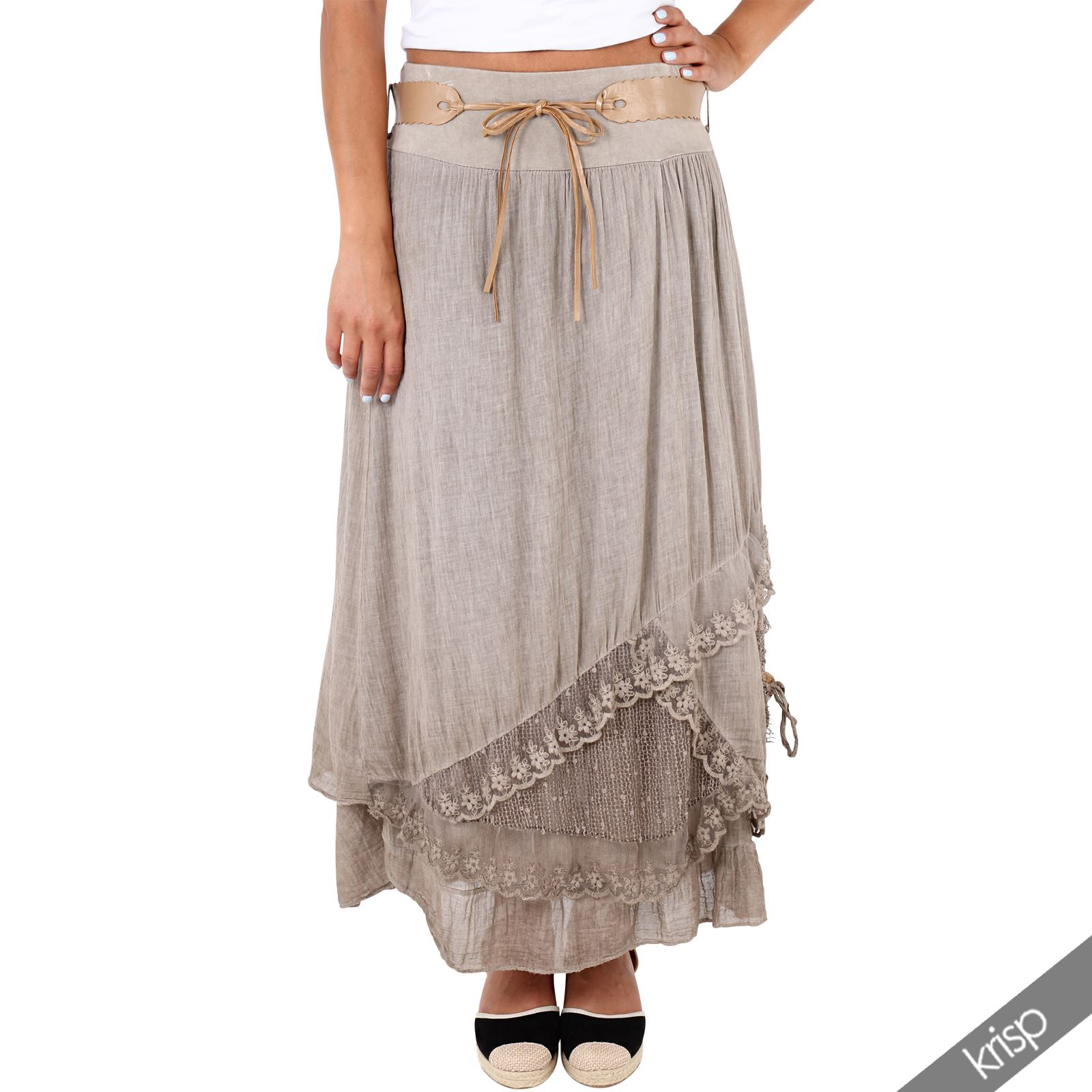 womens layered tiered frilled maxi skirt a line