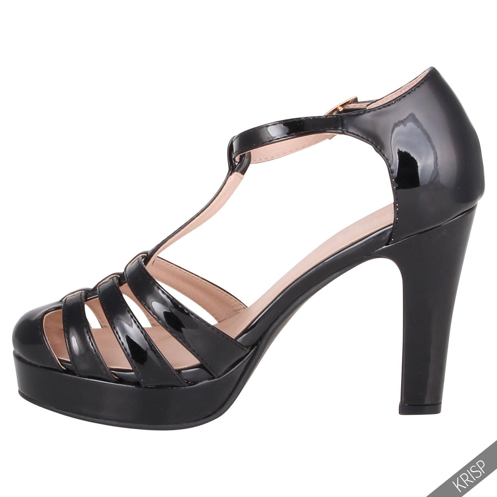 Womens Ladies Retro Fashion Mary Jane Patent Platform High ...