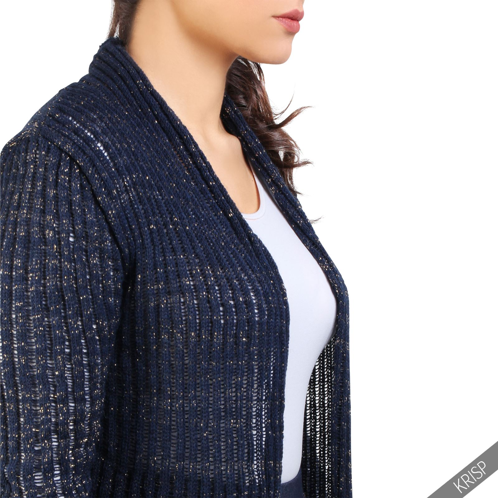 Womens Chunky Knit Long Sleeve Open Cardigan Ladies Winter ...