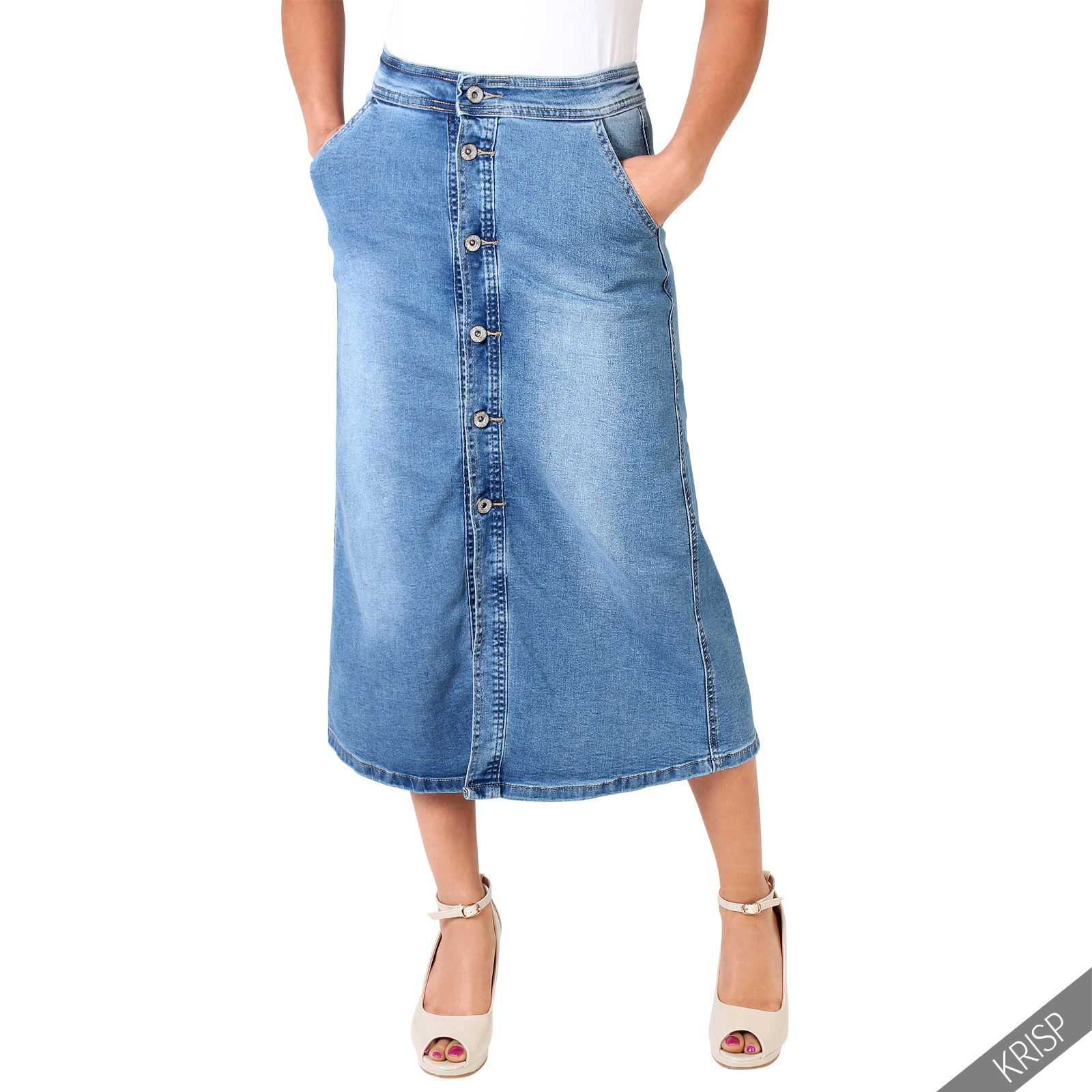 Womens Classic Retro Button Knee Long Denim Skirt Boho 70s Fashion Casual A Line | EBay