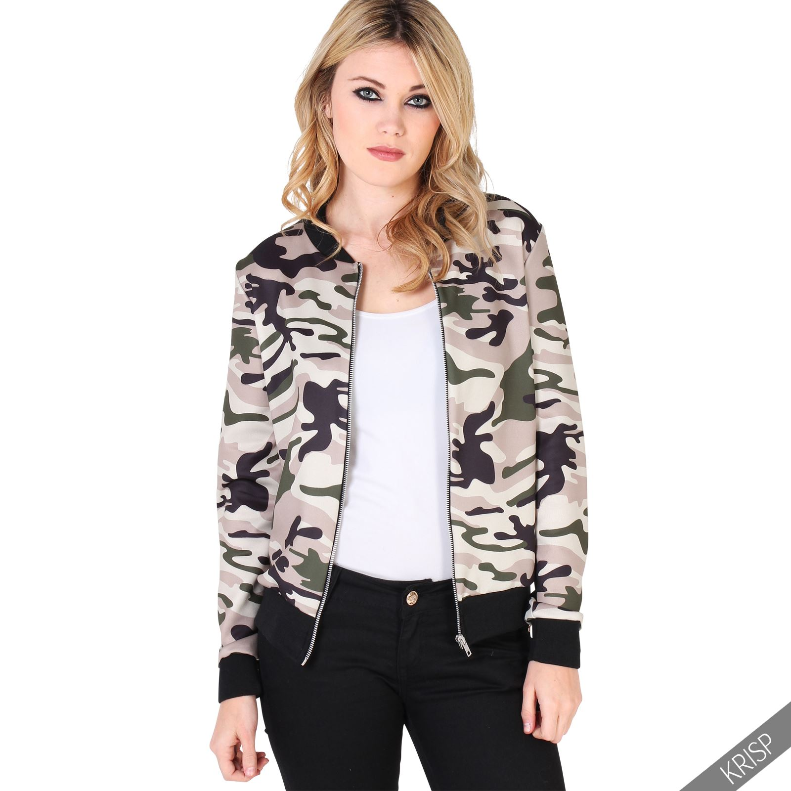 femmes veste blouson l ger camouflage imprim zipp bomber pilotes court ebay. Black Bedroom Furniture Sets. Home Design Ideas