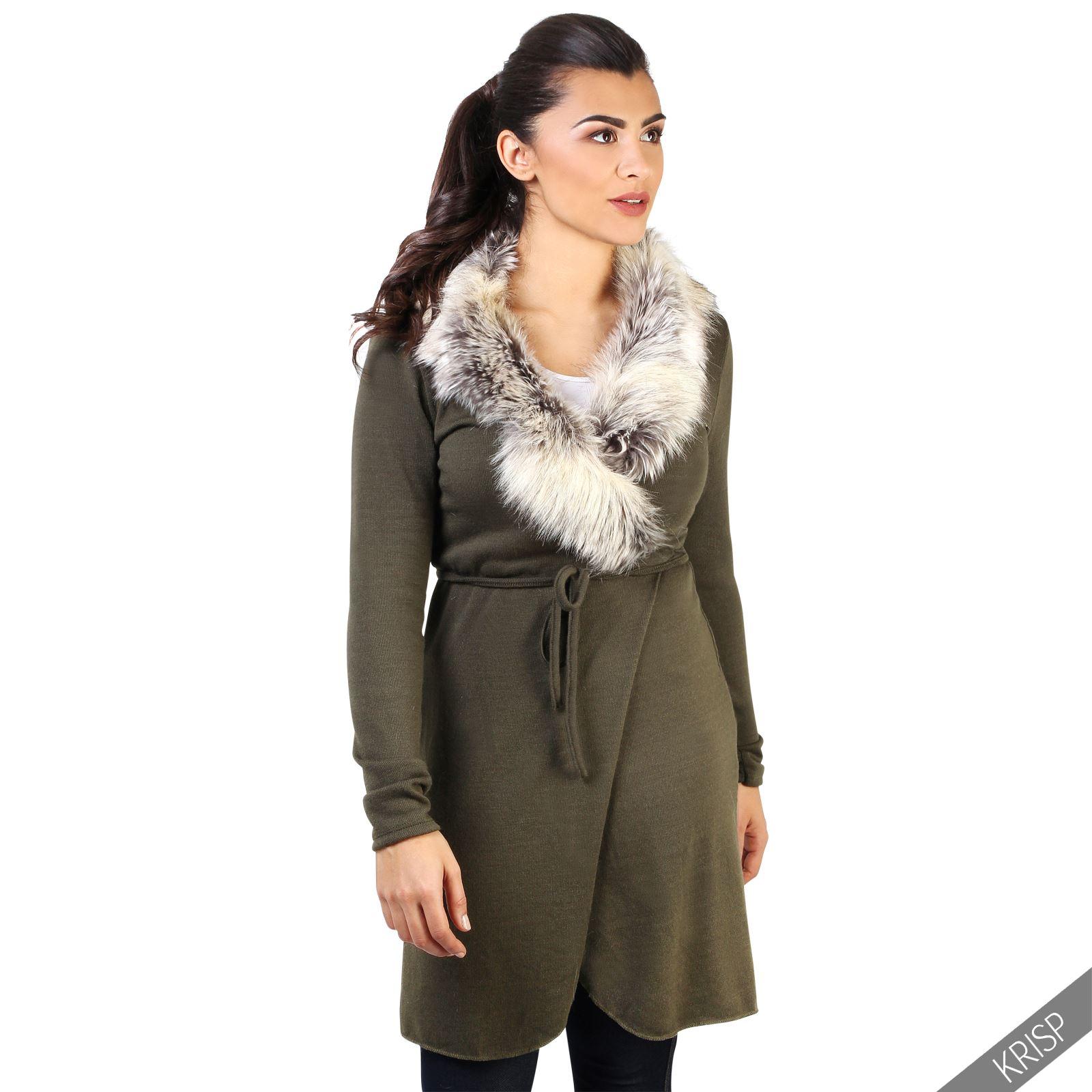 Knitting Cardigan Collar : Womens fur collar belt long knitted cardigan duster coat