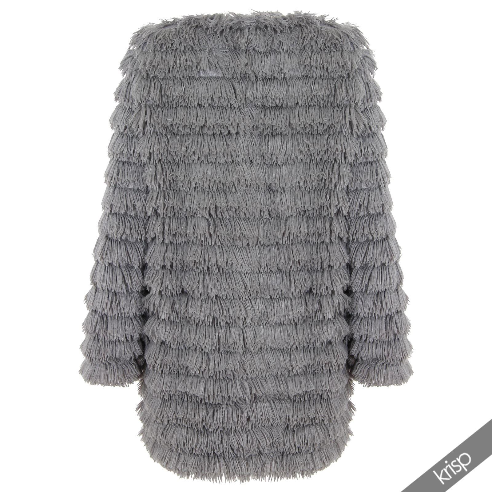Womens Boho Long Shaggy Soft Faux Fur Knitted Jacket Coat ...