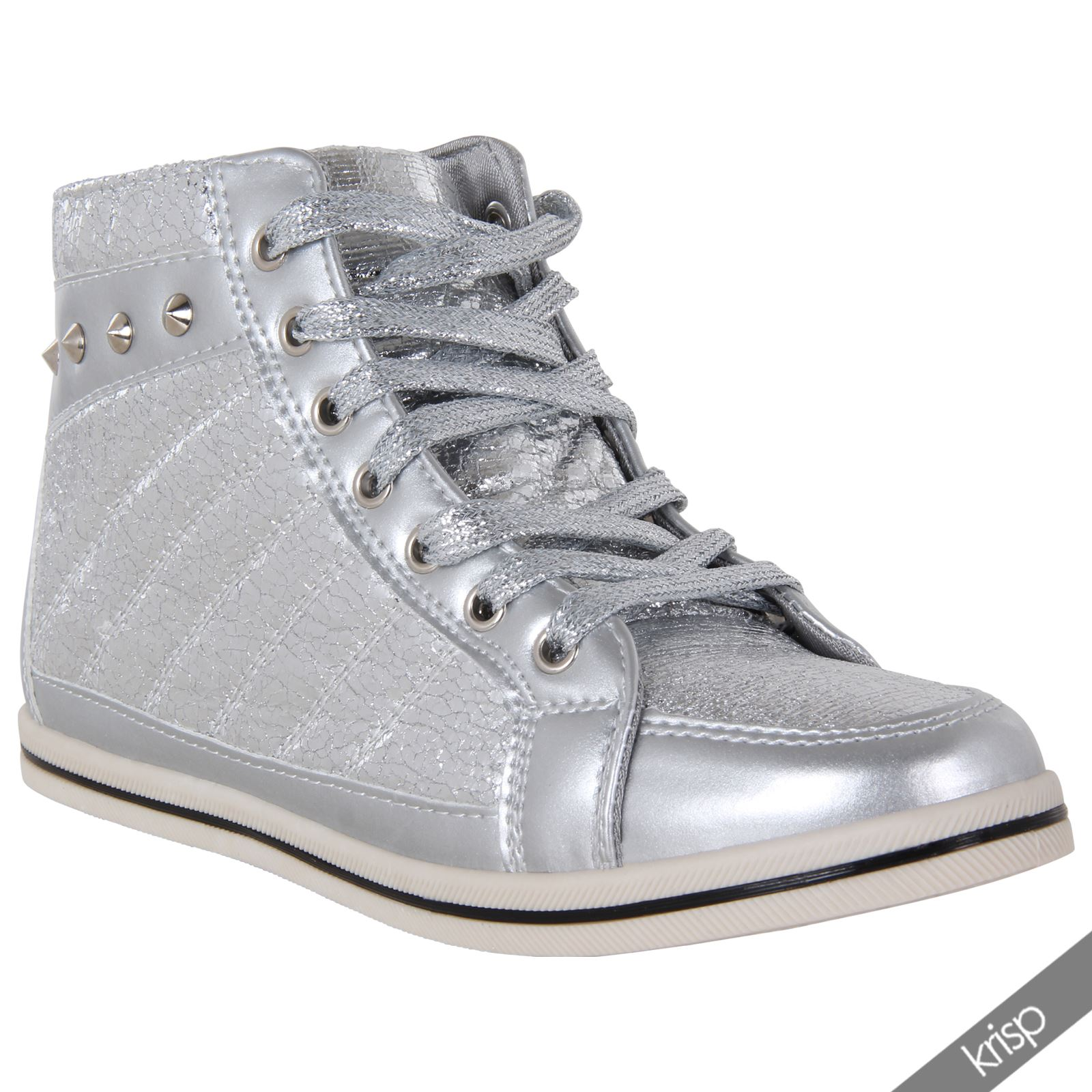 Womens Lace Up Studded Shiny Metallic Flat Ankle Trainers ...