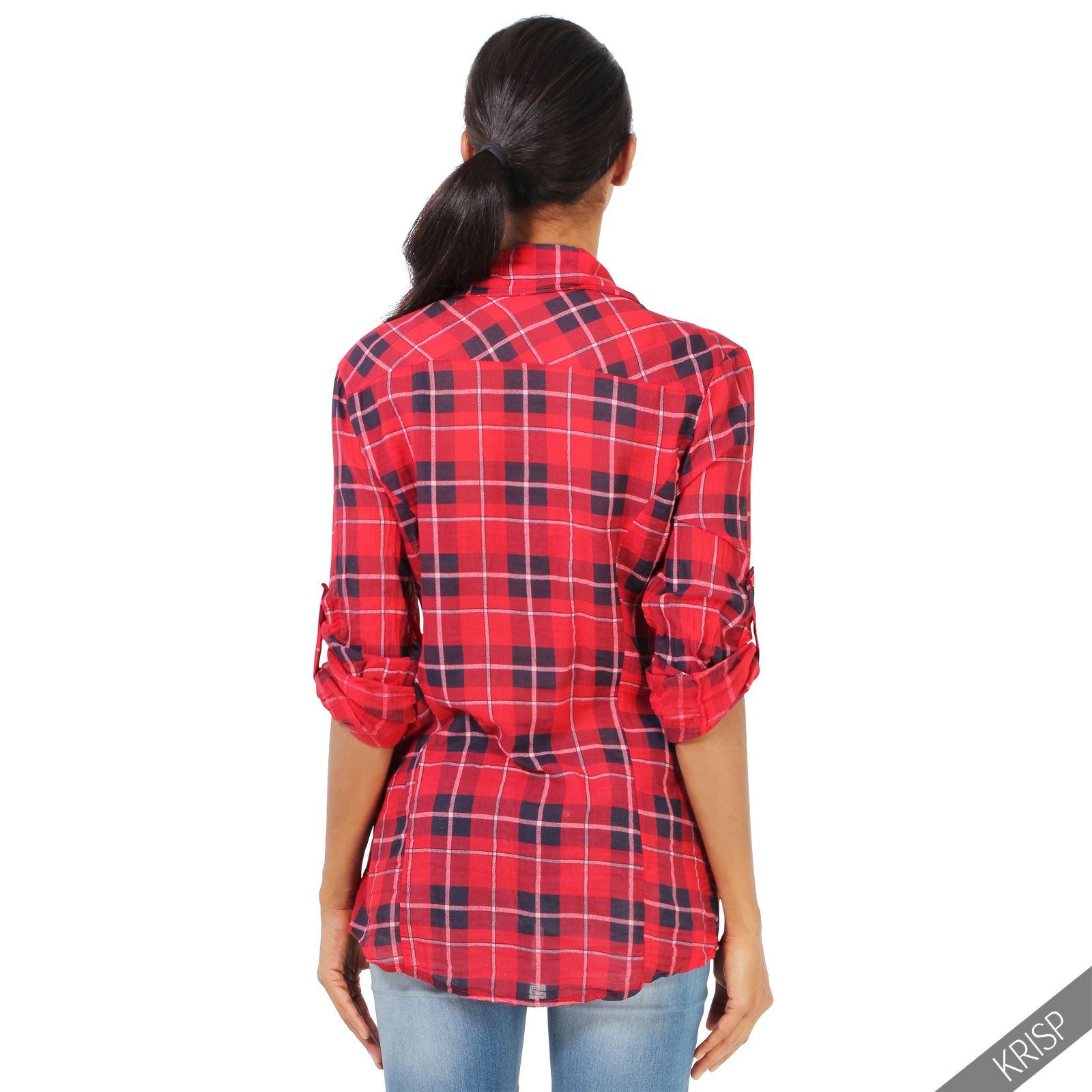 Womens checked tartan plaid print lumberjack long sleeve for Ladies brown check shirt
