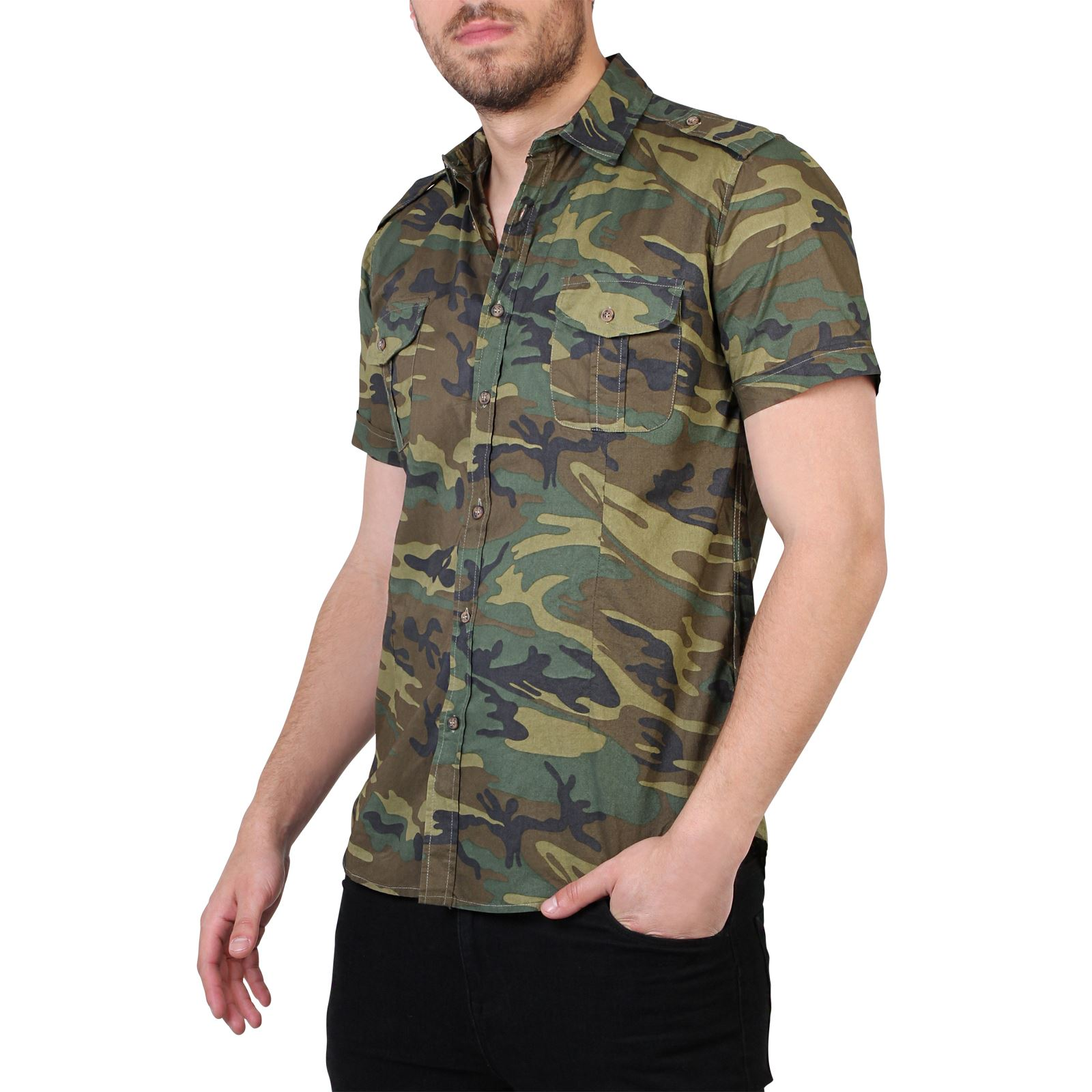 Men Camouflage Casual Combat Short Sleeve Cotton Slim Fit