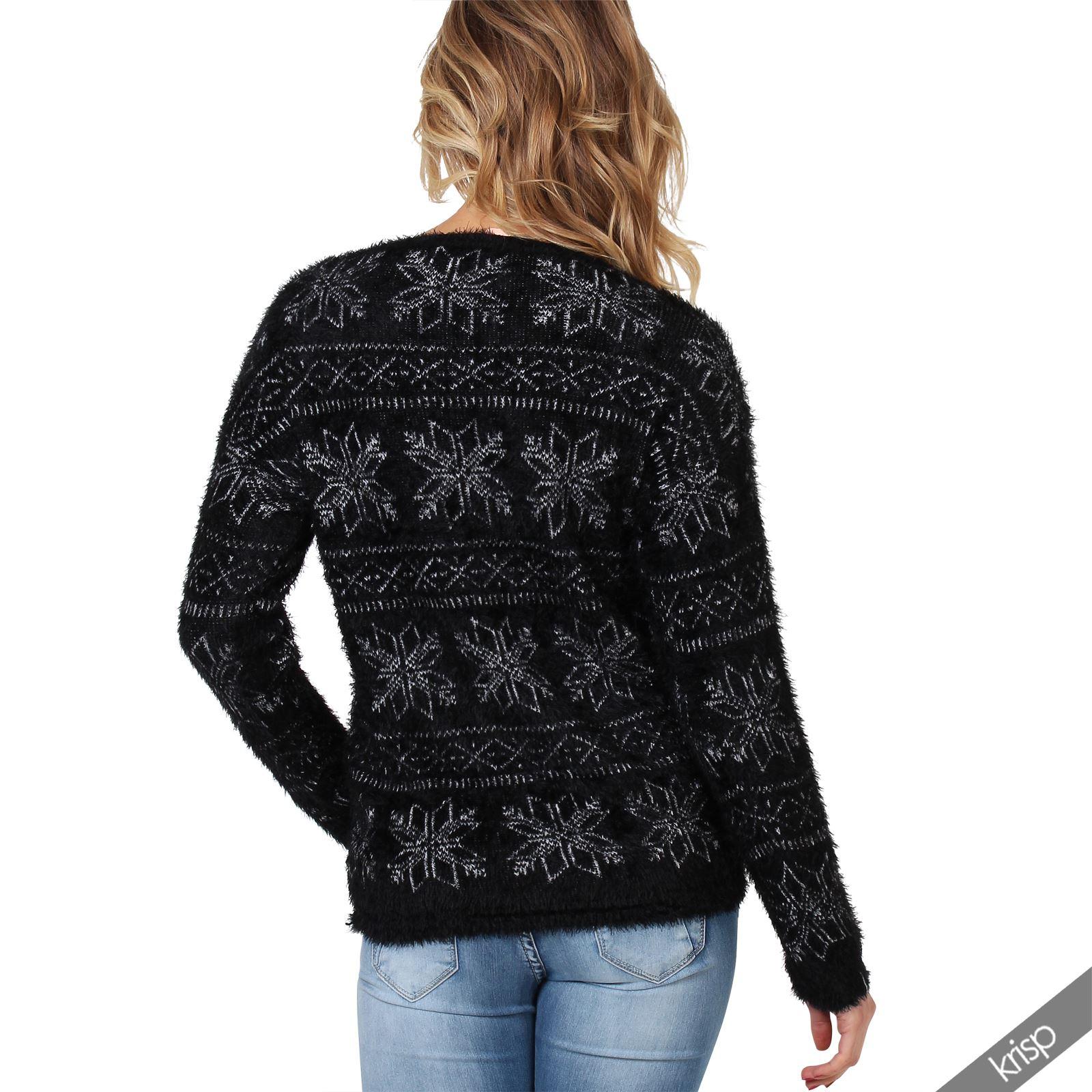 Femme pull doux duveteux tricot grosse maille motif flocon de neige ski hiver - Tricot grosse maille ...