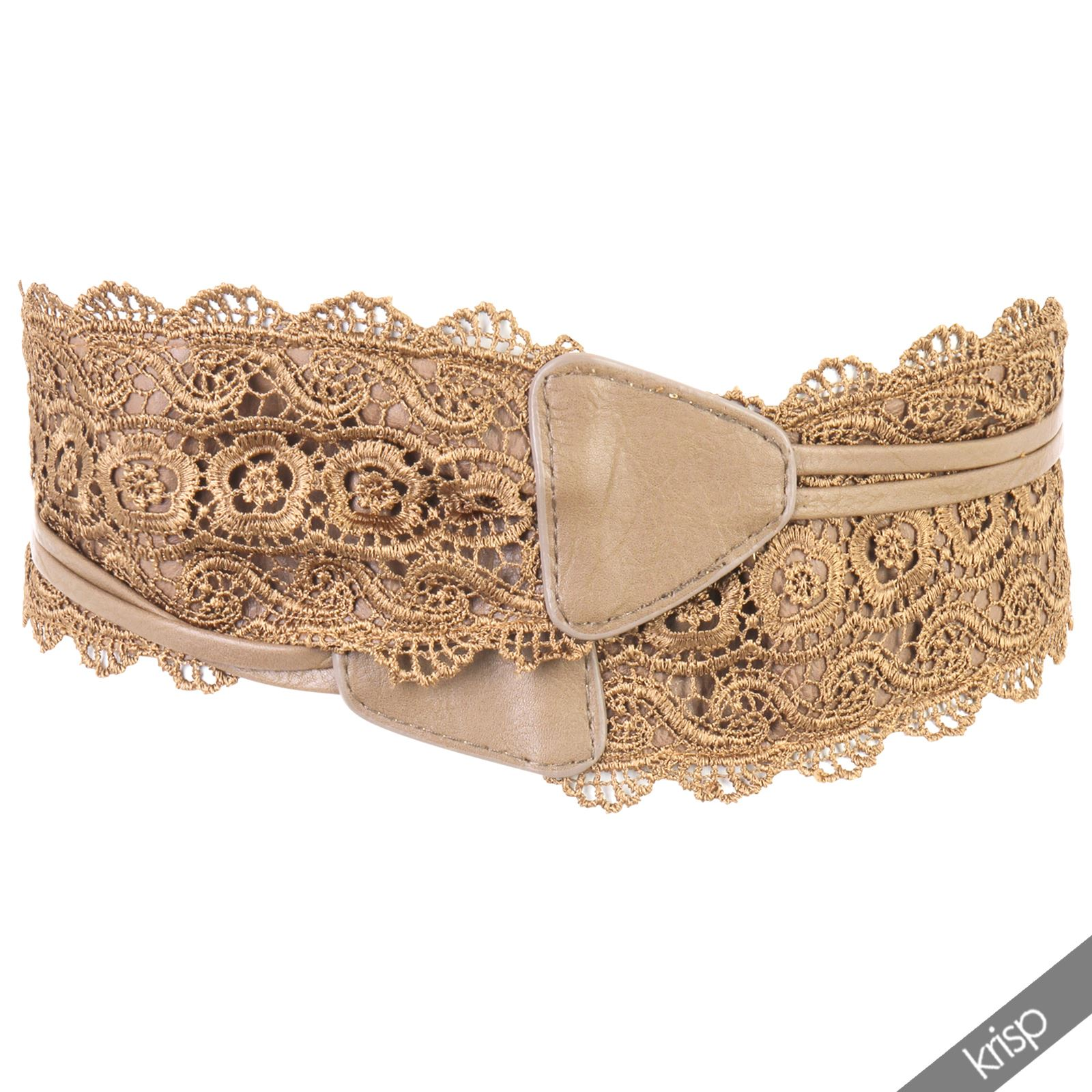Womens Floral Crochet Lace Self Tie Wrap Around Wide Obi