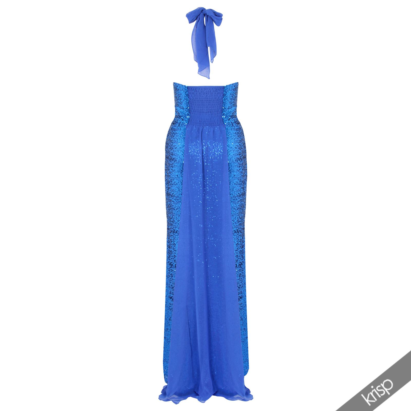 Womens sequin chiffon halter neck top long maxi dress prom for Maxi dresses for wedding party