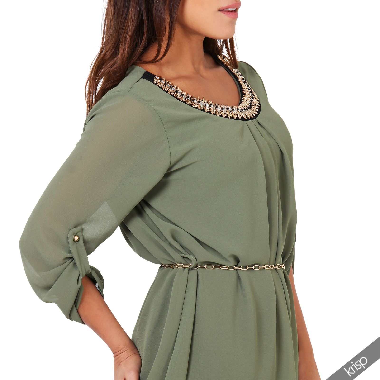 Women Beaded Casual Turn Up 3/4 Sleeve Long Tunic Top Shirt Belted Blouse Office