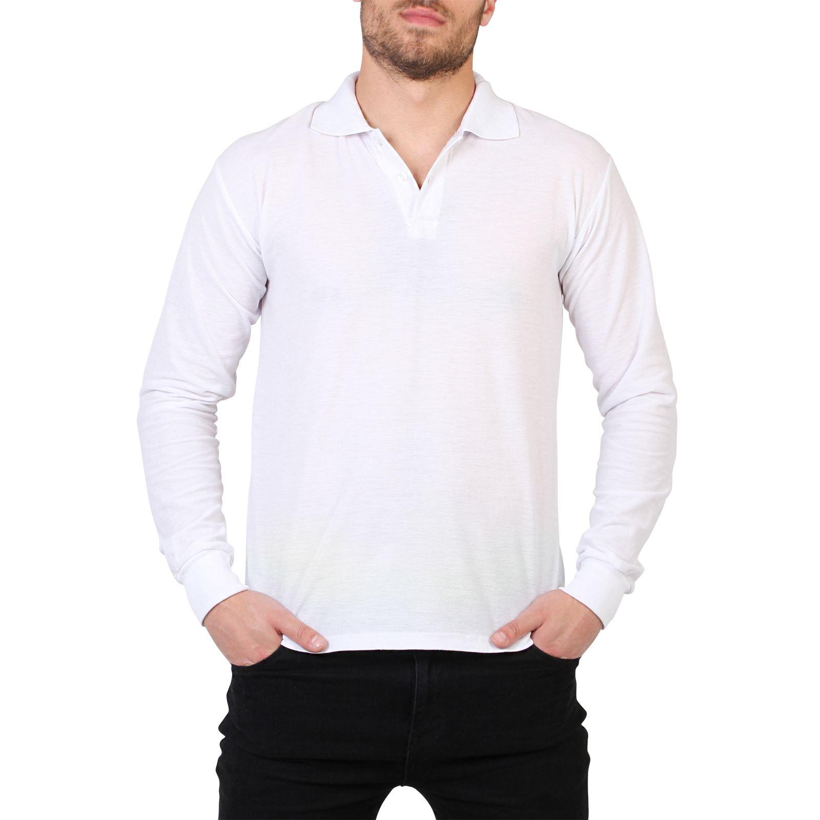 Mens casual long sleeve polo t shirt top plain regular for Mens casual collared shirts