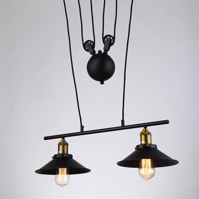 Vintage Industrial Pulley Adjustable 2 Light Black Metal Pendant Light For Ho