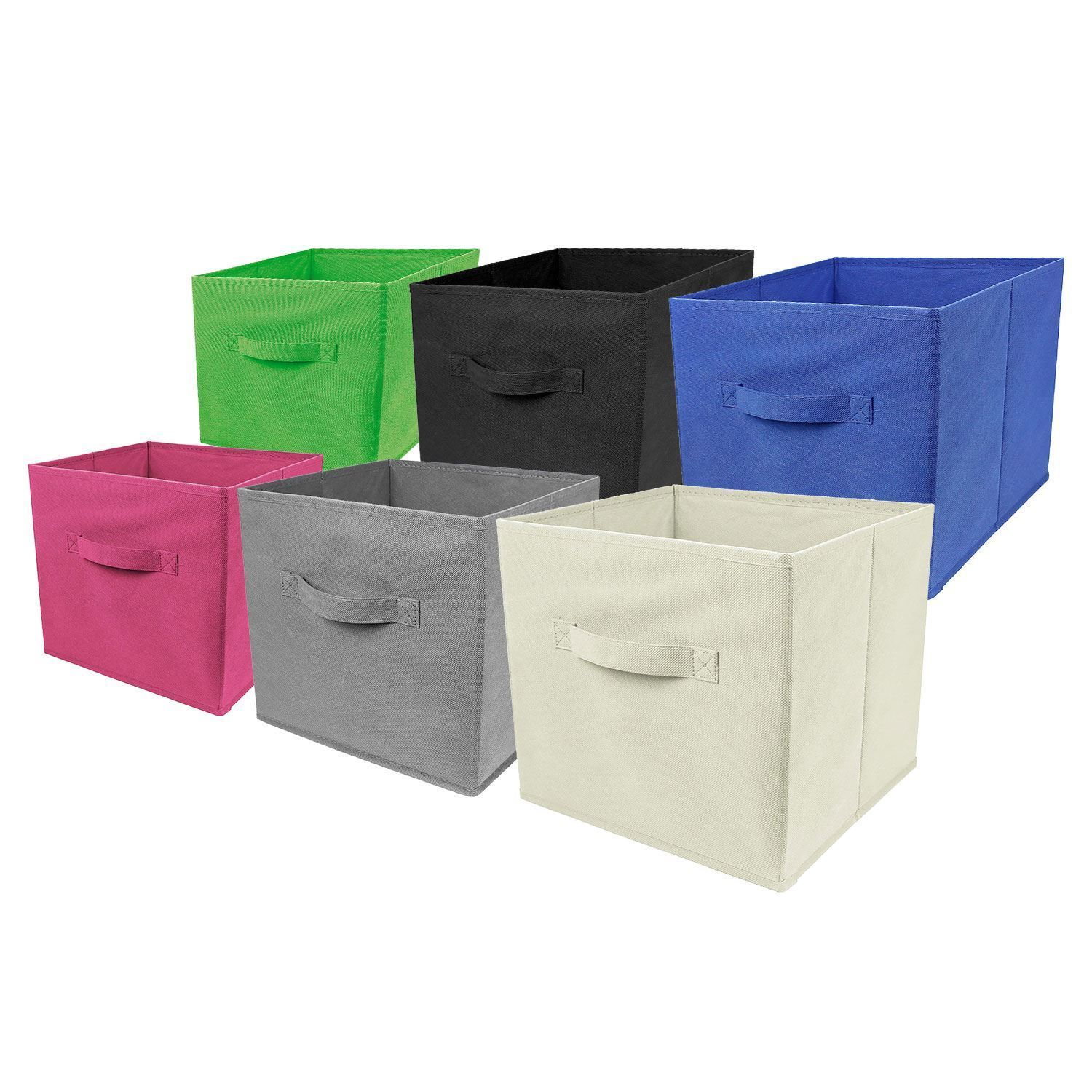 5 x foldable collapsible canvas fabric storage cube bin organiser boxes bookcase ebay. Black Bedroom Furniture Sets. Home Design Ideas