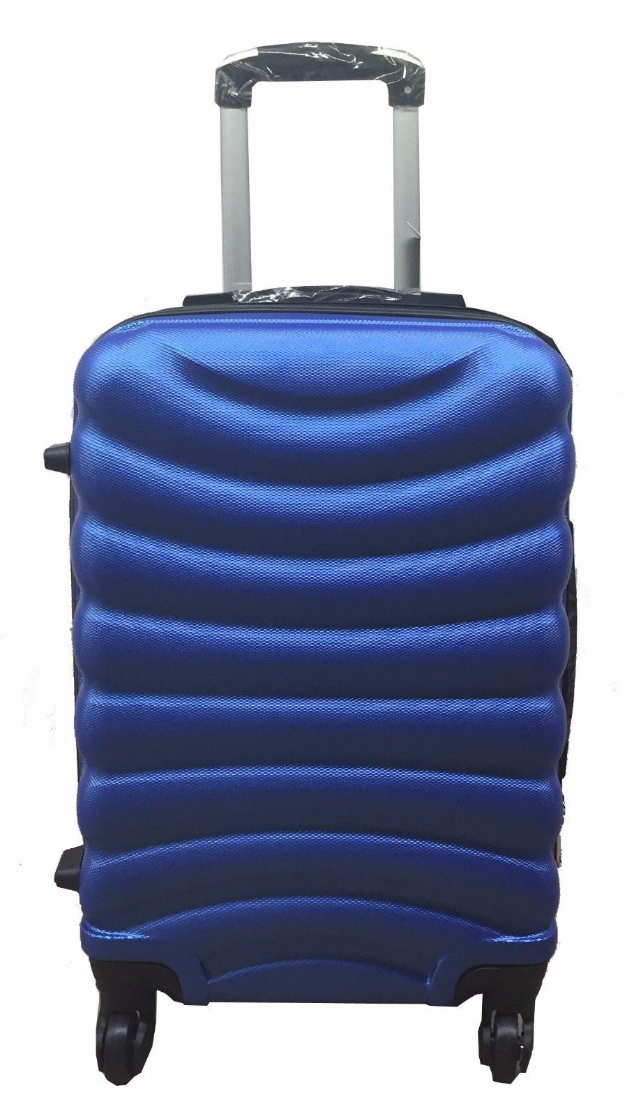 4 wheel hard shell spinner ribbed suitcase abs luggage. Black Bedroom Furniture Sets. Home Design Ideas