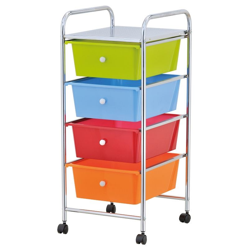 home office chrome 4 drawer storage cart trolley with wheels portable rack ebay. Black Bedroom Furniture Sets. Home Design Ideas