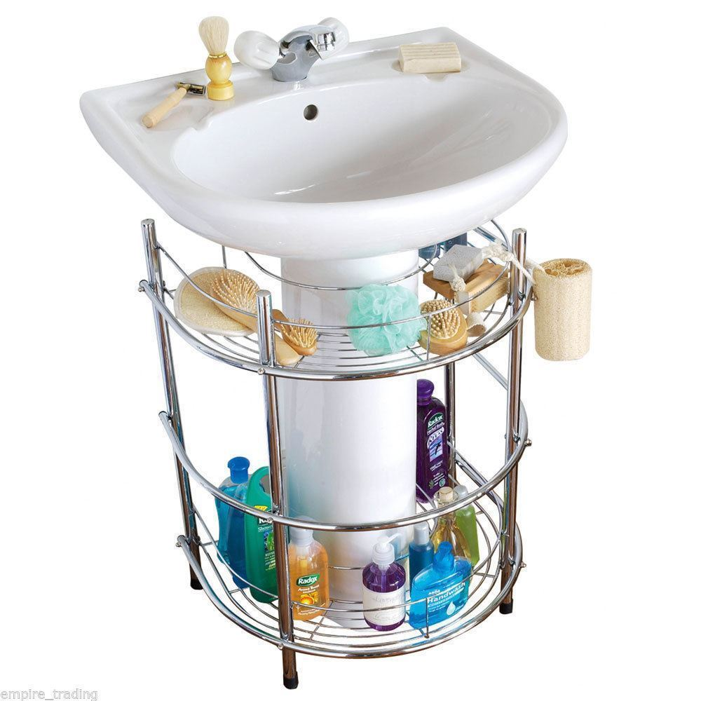 New Boxed 2 Tier Shelf Chrome Metal Under Sink Bathroom Storage Unit Stand Ebay