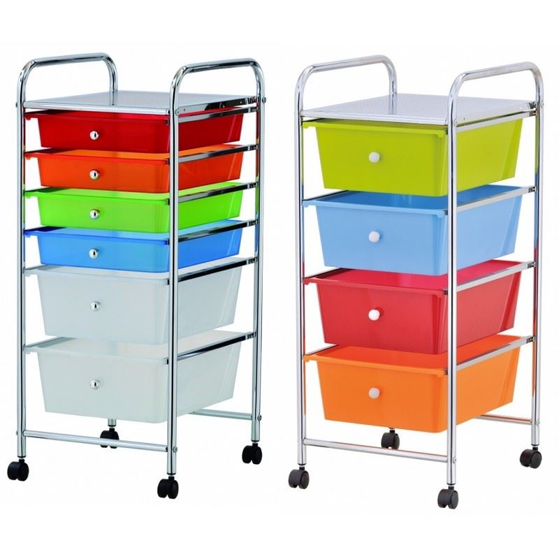 Portable Storage Carts : Home office chrome drawer storage cart trolley with