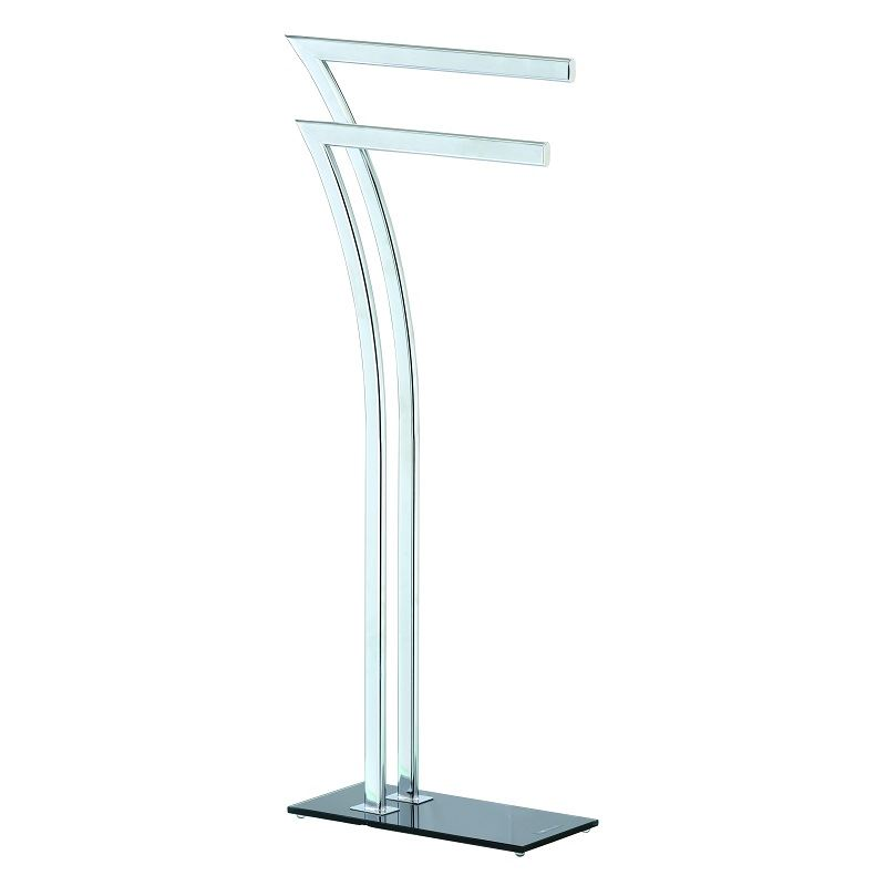free standing 2 bar chrome bathroom towel rail holder storage rail ebay. Black Bedroom Furniture Sets. Home Design Ideas