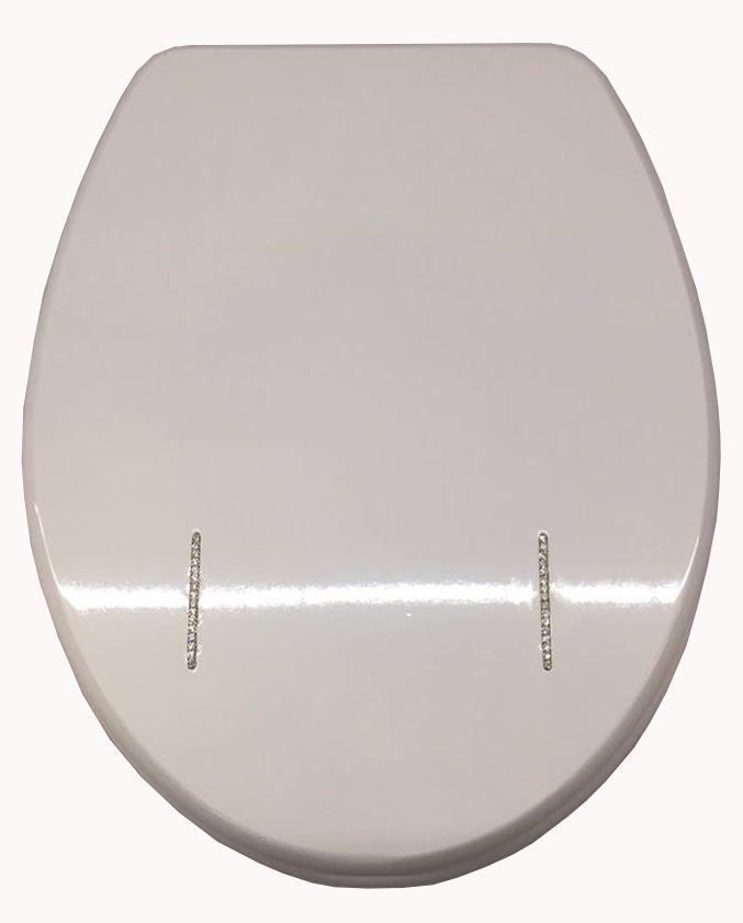 NEW 18 DIAMANTE LOOK SOFT CLOSING MDF WOODEN TOILET SEATS WITH CHROME H
