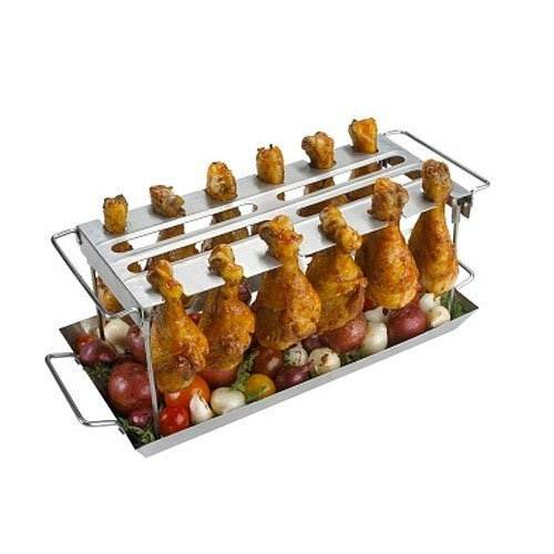 stainless steel chicken wing or drumstick rack for bbq or. Black Bedroom Furniture Sets. Home Design Ideas