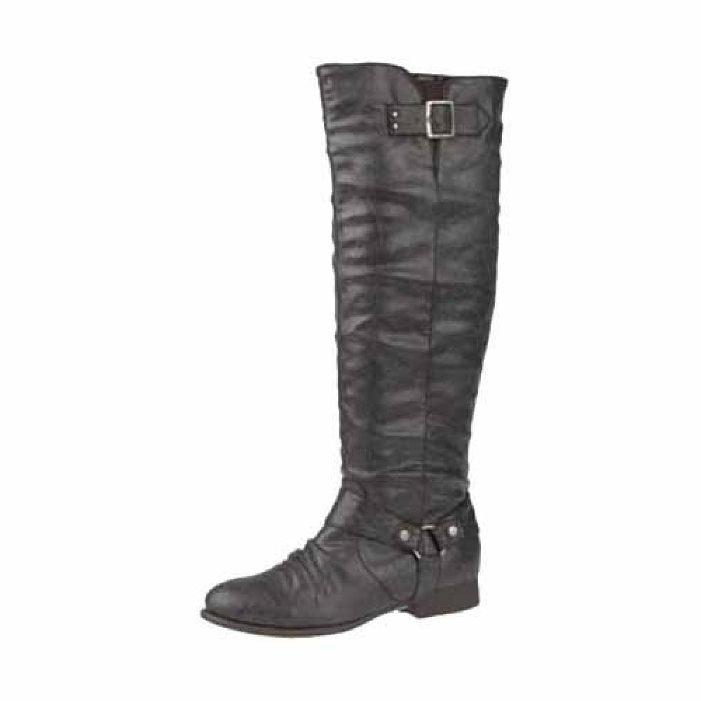 brown knee length buckle trim flat boots ebay