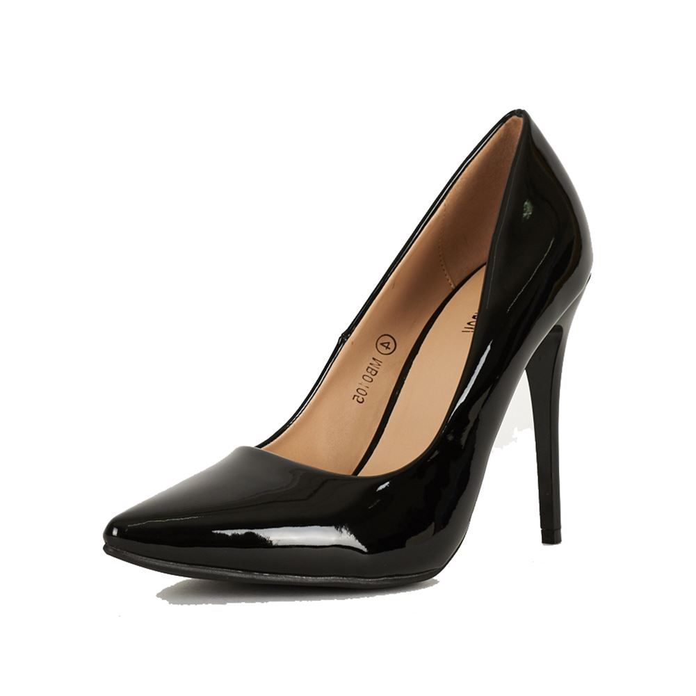 black patent pointed toe high stiletto heel court shoes