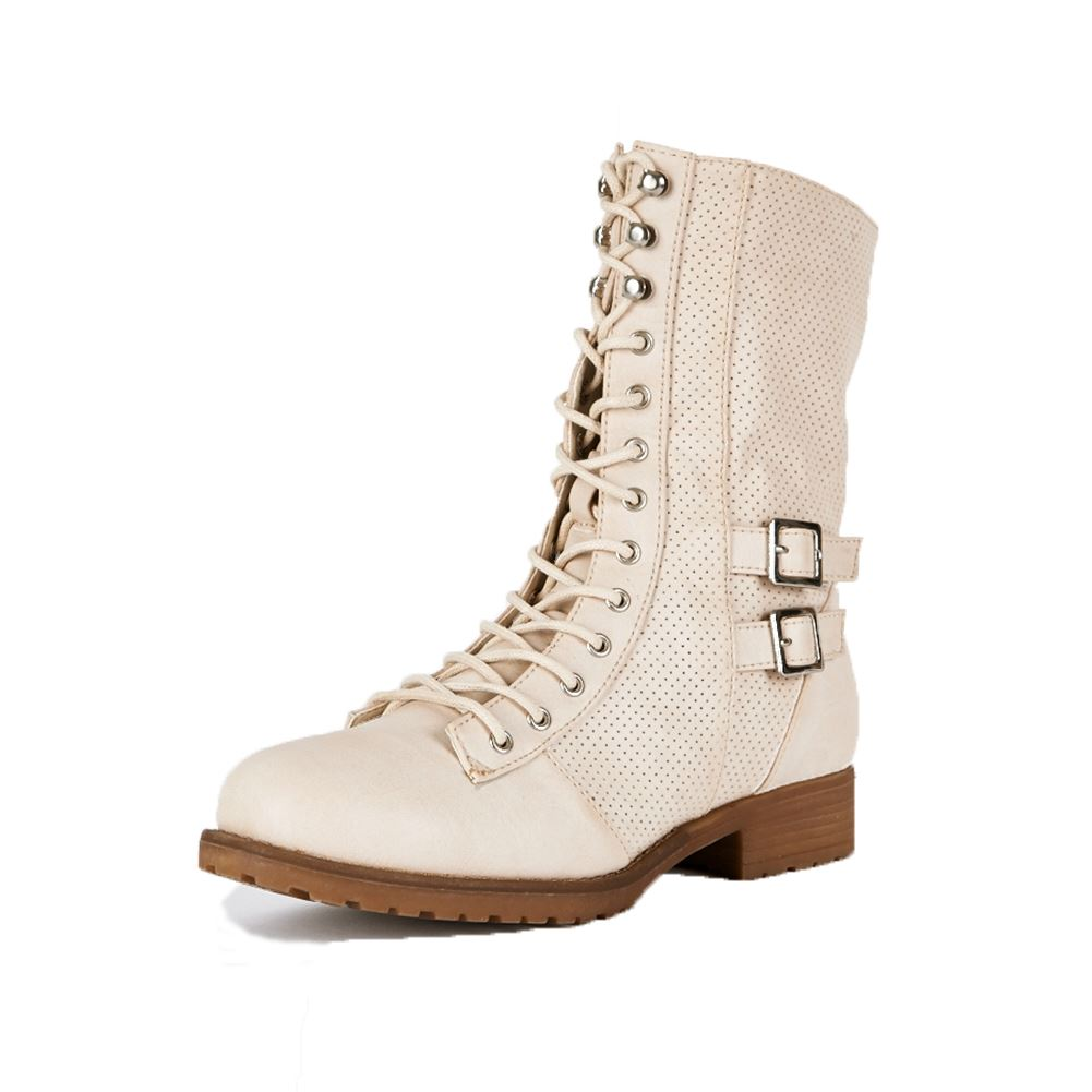 Ladies-Mid-Calf-flat-combat-military-Boots