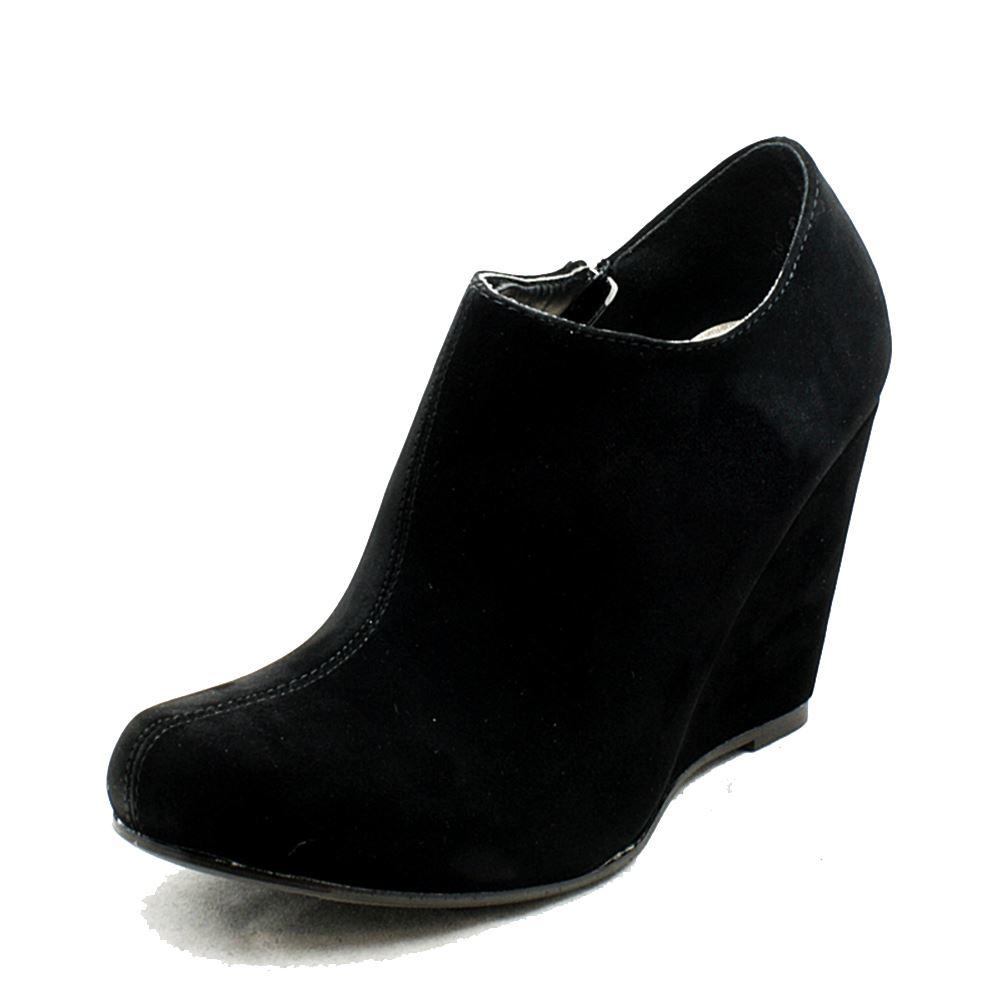 black suedette wedge high heel shoe boots