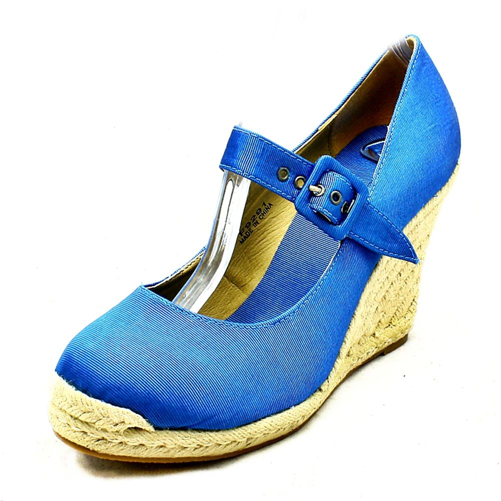 blue canvas wicker wedge shoes with bar ebay