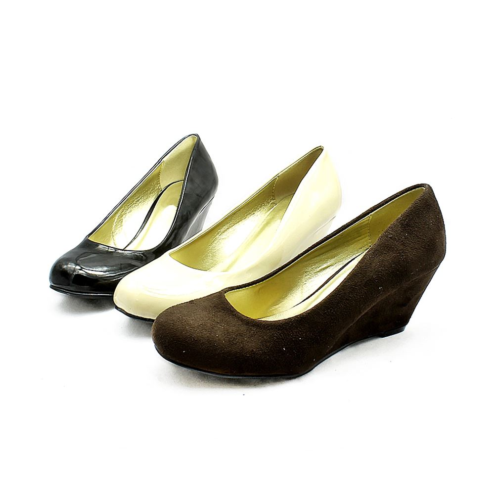 low wedge court shoes with rounded toe