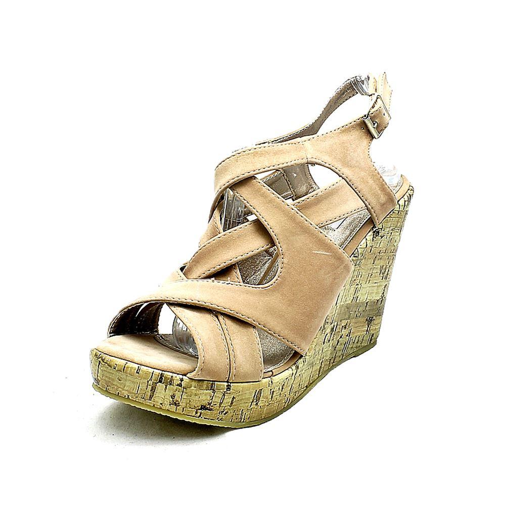 light pink suedette platform cork wedge sandals ebay