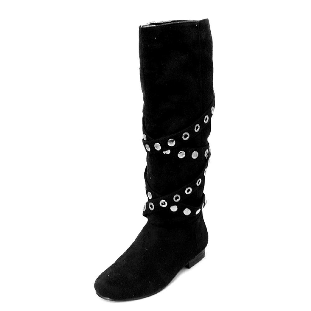 black suedette studded flat boots ebay