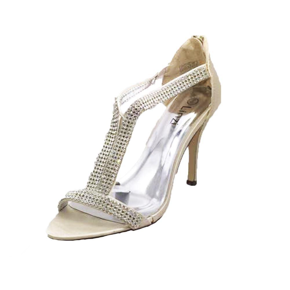 satin diamante t bar peep toe high heel shoes