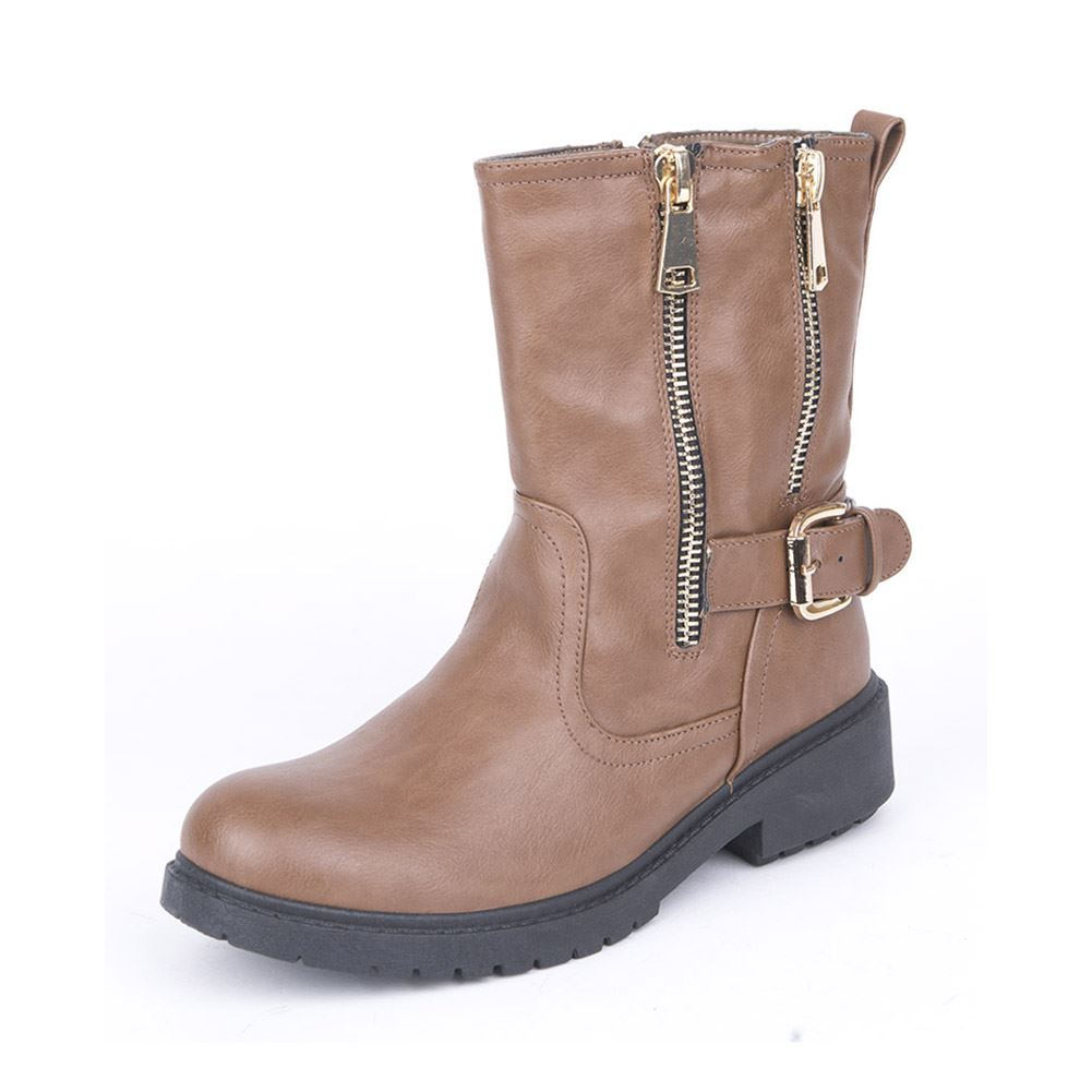 light brown flat ankle boots with zips and buckle detail