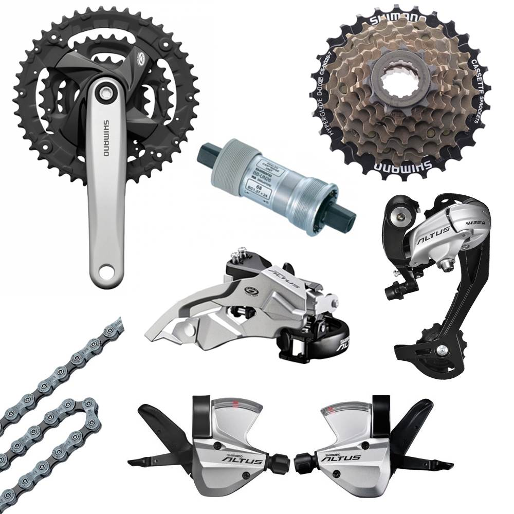 Shimano Altus 27 Speed Mtb Bicycle Chainset Drivetrain Groupset