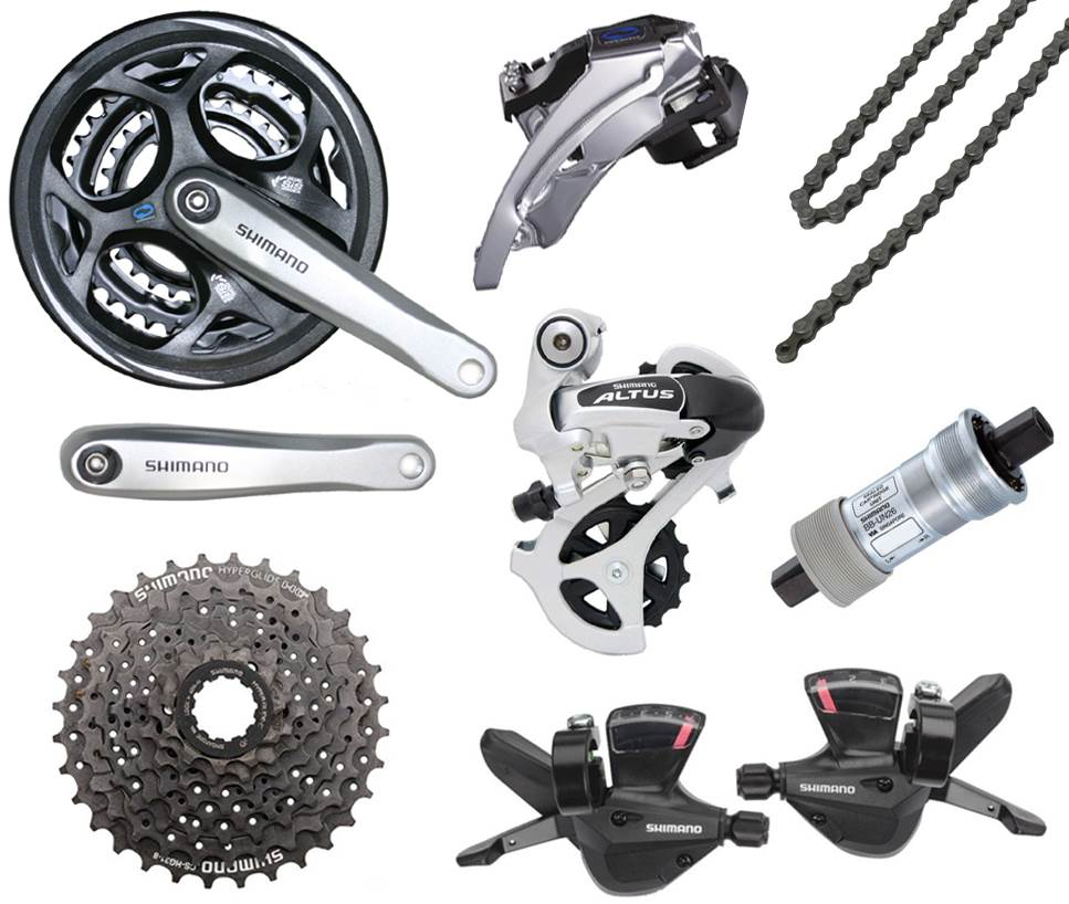 Shimano Altus SILVER 24 Speed Drivetrain Only Bicycle Gear ...