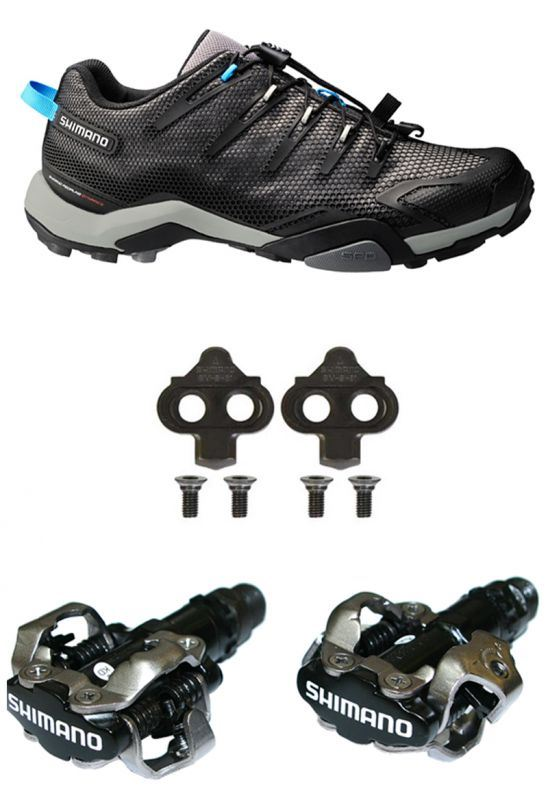 Shimano MT44 Trail Cycling Shoes & PDM520 BLACK Pedals ...