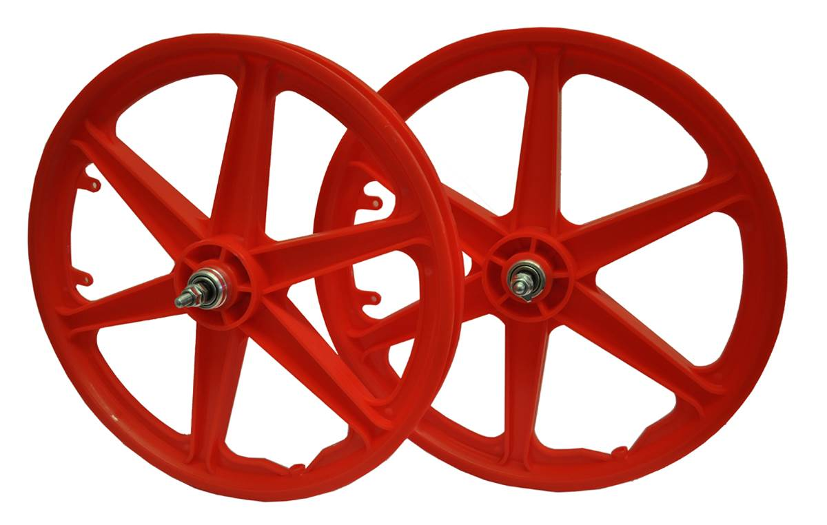 20-034-BMX-Mag-Bike-Wheels-6-Spoke-Retro-Nylon-Freestyle-Pair-in-5-Colours