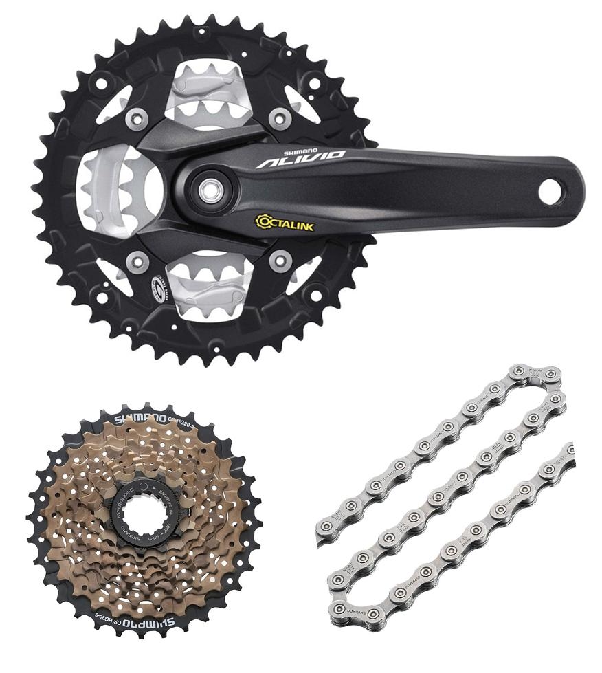 Shimano-Corona-Bicicletta-Mod-Alivio-9-Marce-MTB-Ingranaggi-Catena-HG53-Inclusi