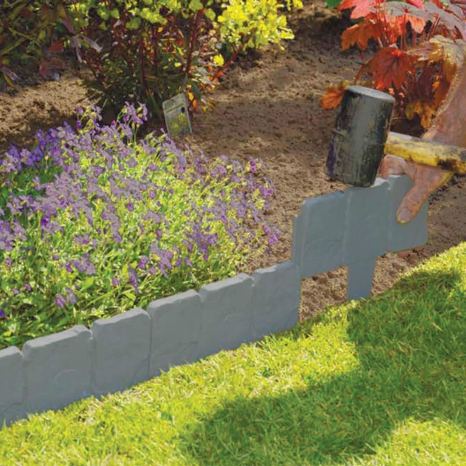 40 Pack Cobbled Stone Effect Garden Lawn Edging Plant ...