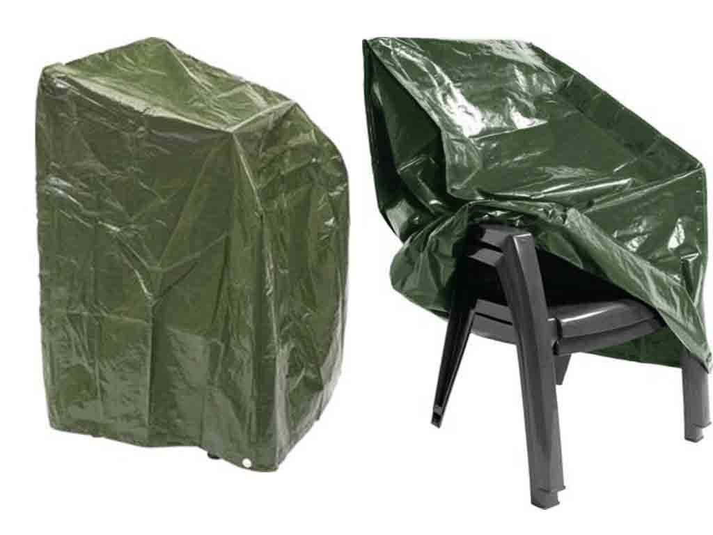 HEAVY DUTY WATERPROOF OUTDOOR GARDEN FURNITURE STACKING CHAIR COVER FOR 6 CHA