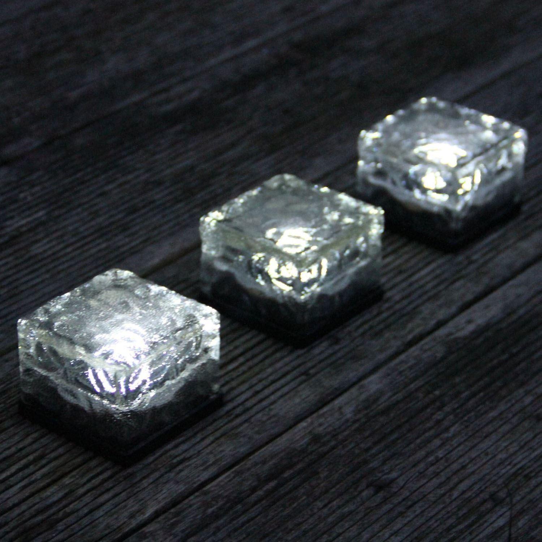 del solaire blanc ice cube brique en verre garden path lights diverses quantit s ebay. Black Bedroom Furniture Sets. Home Design Ideas