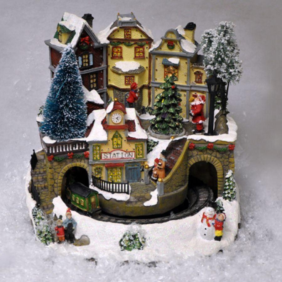 Christmas/Xmas Train or Village Decoration with Sound, LED & Fibre ...