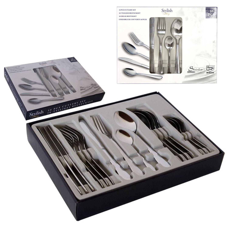 Stainless steel 16 piece cutlery set kitchen utensil ebay for Kitchen set stainless steel