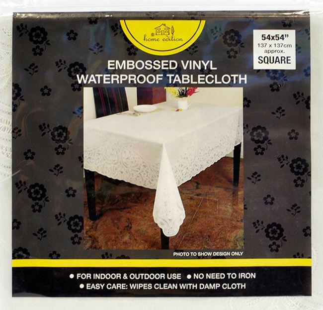 Vinyle blanc dentelle nappe table gaufr couverture diff rentes tailles et conceptions ebay for Nappe de table rectangulaire grande taille