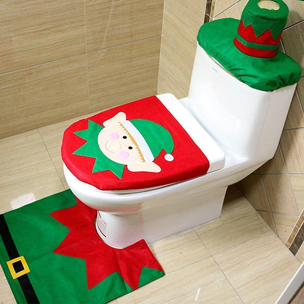 Christmas Xmas Decoration Toilet Seat Cover Set Santa Elf