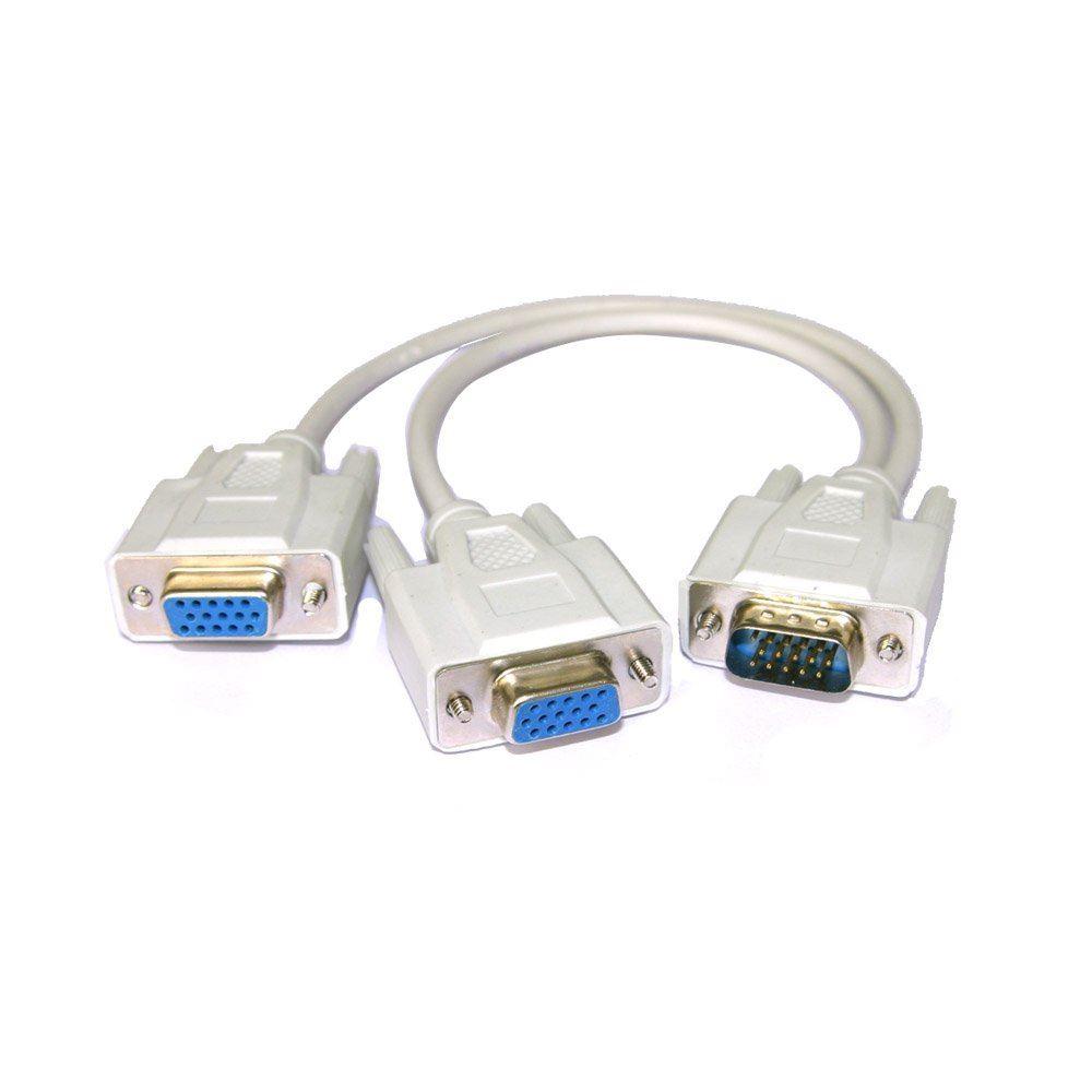 Vga Splitter Cable : Pc to vga svga monitor y splitter cable lead ebay
