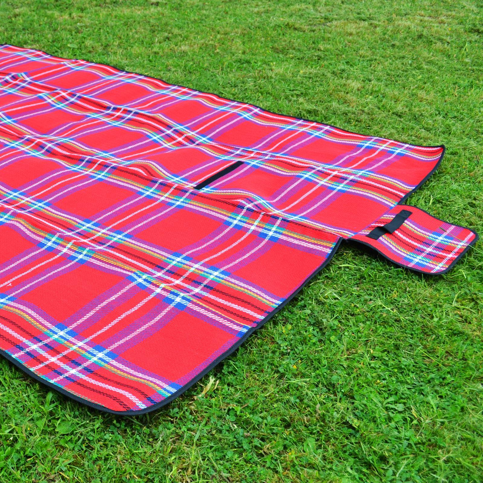 Large Waterproof Portable Picnic Blanket Mat Camping Beach Festival PVC 1.5 x 2M