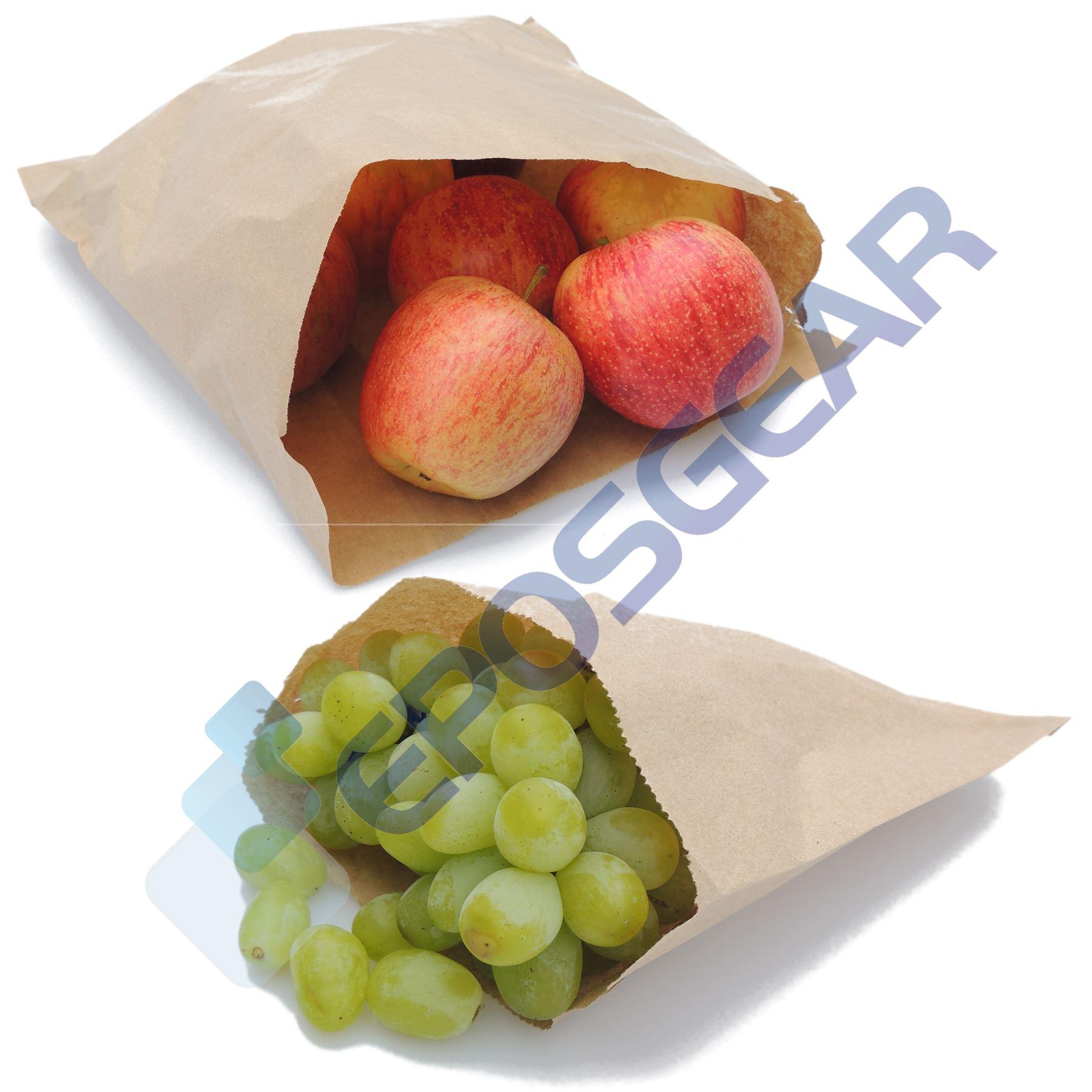Brown Kraft White Sulphite Strung Sweet Food Fruit Veg Market Stall Paper Bags