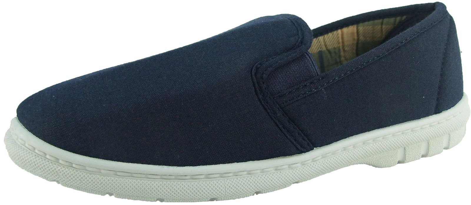 Canvas Beach Twin Gusset Shoes ~ Comfort Padded Inners ~ Navy Boat Mens Deck